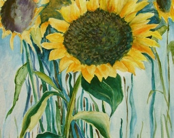 "Sunflowers Above the Bay, Original Watercolor, 9"" x 12"""