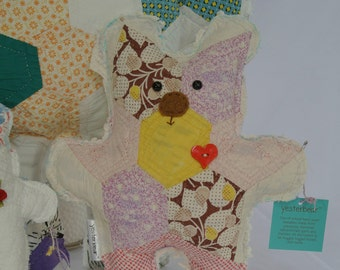 One of a kind handmade teddy bear made from vintage quilts and chenille