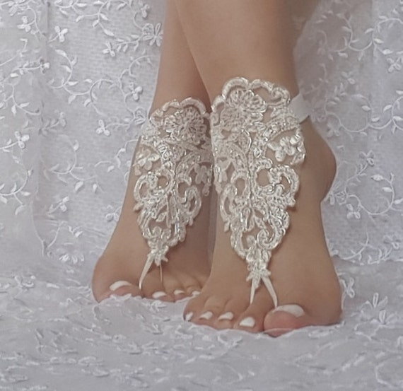 bridal beach wedding barefoot sandals, bangle, ivory silver beach wedding barefoot sandals, wedding bangles, anklets, bridal