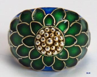 Sterling Silver Chinese Blue Green Enamel Chrysanthemum Flower Ring Size 7