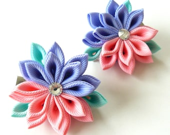 Kanzashi  Fabric Flowers. Set of 2 hair clips. Pink and iris.