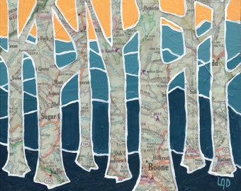 Boone Trees - small Print of original map painting featuring Boone, North Carolina,Appalachian Blue Ridge Mountains