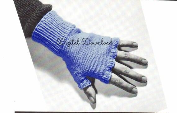 Vintage 1940s Mens Fingerless Gloves Knitting Pattern Open Finger
