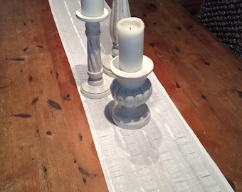 Modern Crisp White & Silver Thread Wedding/Christmas Table Runners, Quality Hand Made!