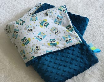 Teal dot minky baby blanket, baby blanket and OWL cotton fabric