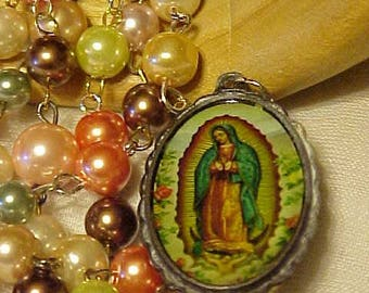 GLASS PEARL Chain w/Mother MARY Pendant~Old~~Many colored Glass Pearl Chain~~Mother Mary Pendant~Old & Precious