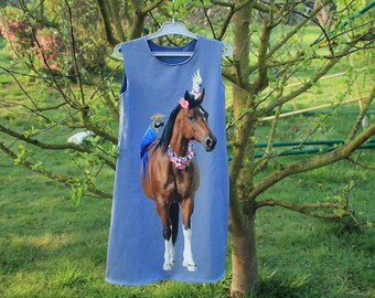 Dress pinafore, tunic, jersey tank top with a large pattern, horse, size 10 / 11