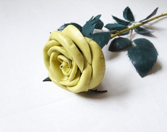 Yellow rose,Red rose, Black,pink  Leather Rose-  Wedding flower -3rd Anniversary Gift- Long Stem Flower