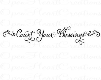 Count Your Blessings Wall Decal - Picture Photograph Family Entryway Wall Quote 8H X 36W Qt0202