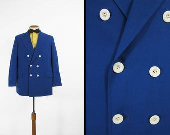 Vintage Double Breasted Blazer Cobalt Blue Wool Peak Lapel Suit Jacket - 40 R