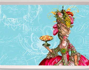 Marie Antoinette Peacock and Cakes Let Them Eat Cake Melamine Serving Tray gift