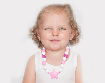 Little girl Necklace, Toddler Silicone necklace, Sensory Chewable necklace kids, Nail bitter, Sensory Jewelry, Perfect unique birthday gift