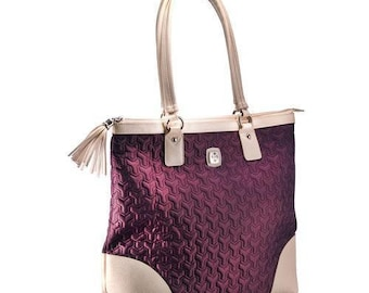 Christian Tote Bag - Quilted Grape Bag with Engraved Cross.