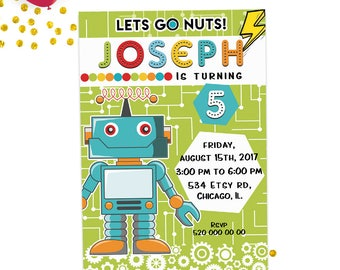 ROBOT INVITATION, Robot party invitation, robot party, robot invite, robot birthday, robot birthday party, robot printable invite