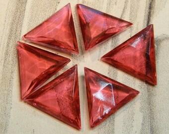 Lg Vintage Pink Rhinestones Triangle Glass Pointy Back