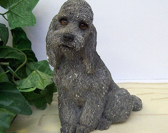 Vintage 1985 WHISKERS By Martha Carey – Gray Poodle Dog Figurine - Stoneware Sculpture – Made in Vermont - #2501 -