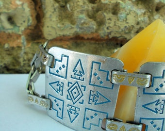 South West Cuff Symbol Bracelet - Kokopelli Symbol North East South West Direction - Silver Turquoise Yellow Sun - Prissys Newberry Antiques