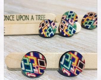 Laser Cut Wooden Abstract Geo Earrings