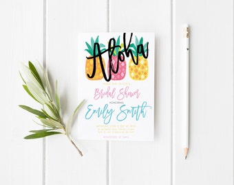 Aloha Pineapple Bridal Shower Watercolor Bridal Shower Party Invitation Summer Tropical Wedding Party Invitation Instant Download