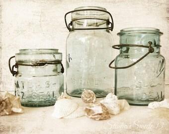"Beach Kitchen Art, Bathroom Decor, Mason Jars, Old Jar Print, Atlas Jar, Neutral Green Art, Seashells, Beach Cottage Decor- ""Vintage Jars"""