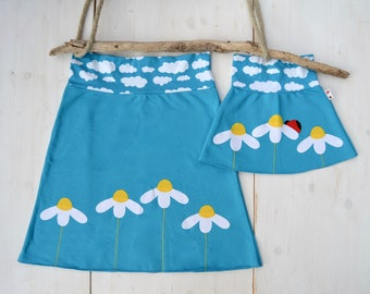 Mommy and me outfits - daisies skirts, mother daughter matching outfits - turquoise jersey, ready to ship in sizes S & 2 and 3 years, sale
