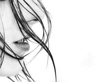 Emotional Profile Original Graphite Pencil Drawing Woman Profile Wet Hair