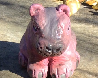 Little clay animal ornamental hippo - 'Gustav'