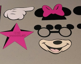 Minnie Mouse Photobooth Props, Birthday Party Photo Props, Minnie Birthday Party Decorations