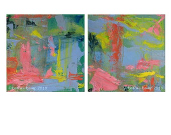 Abstract Oil Paintings Pink Orange Blue Green Yellow Modern Art Home Wall Decor Diptych Set of Two Digital Prints Bright Colors Beach House