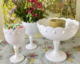 Milk Glass Vase Milk Glass Bowl Milk Glass Compote Bulk Vases Candy Dish Footed Bowl Wedding Centerpiece Vases for Wedding Party Vases White