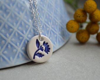 Royal blue necklace, ceramic pendant necklace, delft blue jewelry, ceramic jewellery, bridesmaid gift
