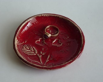 Red ring dish, two heart  ring holder, small pottery plate, engagement gift