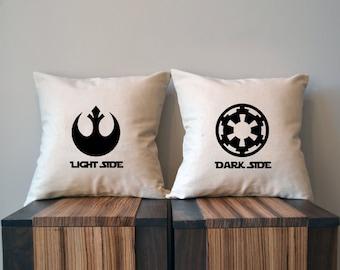 Light Side Dark Side, Star Wars Pillow Cover Set, 18 x 18, Rebel Alliance, Galactic Empire, Wedding,  Star Wars Decor, black friday sale