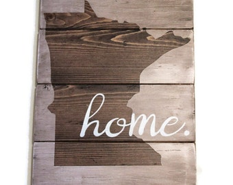 State Home Sign, Minnesota Home Sign, Minnesota State Sign, Minnesota Wood Sign, State Wood Sign, Personalized State Sign, Rustic State Sign
