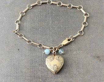 Gold Locket Bracelet, Gold Heart Locket, Chunky Gold Chain, Bridal Bracelet, Chunky Chain, Wedding Locket,  Gold Oval Locket, Something Blue