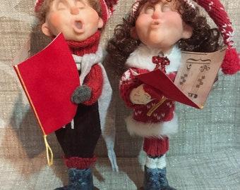 Christmas Caroler Kids- DoReMe N Friends - NonnasSantas- Christmas Music - Art Dolls - OOAK Dolls - Handmade Dolls