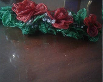 Large Vintage Trio of Red French Beaded Flowers
