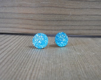 Blue Teal Sparkle Druzy Earrings - 12mm on Stainless Steel Posts.