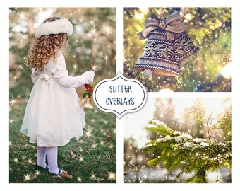 Christmas Overlay, Glitter Effect Photo Overlays, Blowing Glitter Photoshop Overlays, Confetti Photo layer, Fairy dust effect, Bokeh overlay