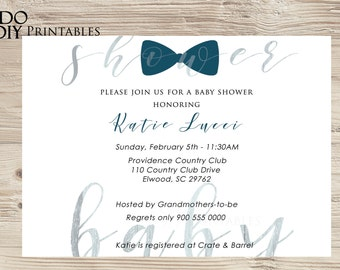 Bow Tie Baby Shower Invitation   Boy   Blue Boy Invitation   Printable Boy Invitation  Little Man   MS Word Template   Instant Download