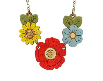 Poppy wild flower necklace - hand painted laser cut flower necklace