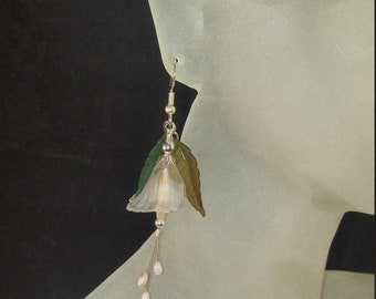 Acrylic Translucent Frosted Calalily and Pearl Fishhook Earrings - Greens (leaves)