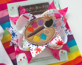 Paint Palette Bow -- Paint Party Hairbow in bright, rainbow colors -- choose 2 for pigtails -- rainbow hairbow