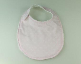 Pretty Pink with White Bows Baby Bib