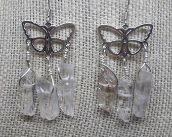 Clear Crystal Butterfly Earrings