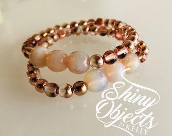 Beaded Czech Glass Stretch Bracelet in Rose Gold