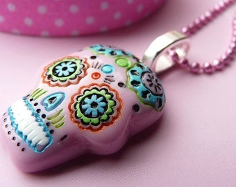 Pink Day of the Dead Mexican Skull Necklace