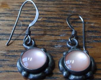 Pink Iridescent Stone Sterling Loop  Earrings