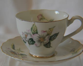 Japanese Teacup and Saucer Porcelain Hand Painted Apple Blossoms - Vintage #4182  ON SALE NOW!!
