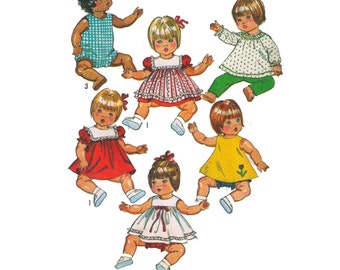 Simplicity 9508, 80s sewing pattern, 12 inch vinyl doll clothes, doll dresses, doll pants